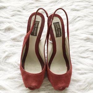 Zara Red Faux Suede Peep Toe Heels